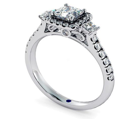 Three Stone Diamond Ring Princess cut Halo - Hatton Garden