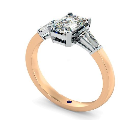 Emerald & Baguettes Three Stone Diamond Ring - Hatton Garden