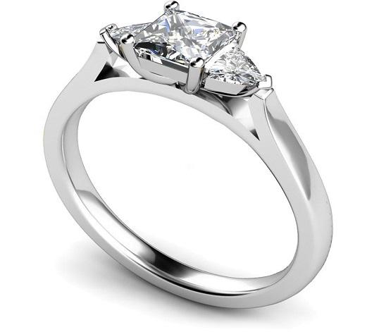 Princess & Trillion Three Stone Diamond Ring - Hatton Garden