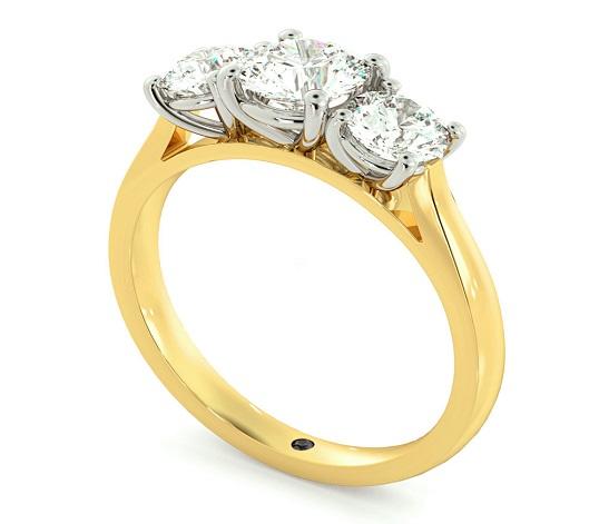 Round Three Stone Diamond Ring - Hatton Garden